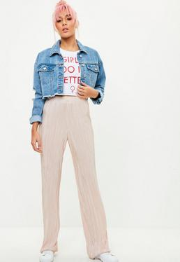 Pink Pleated Wide Leg Trousers