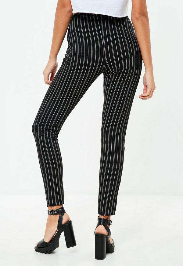Black Skinny Cigarette Trousers Mono Pinstripe Missguided