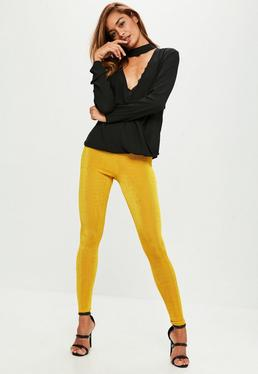 Leggings de pitillo en amarillo