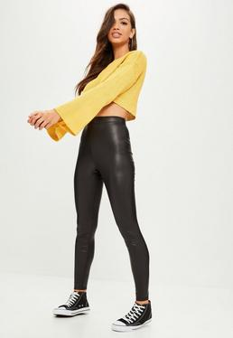 Black Faux Leather Coated Leggings