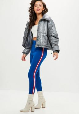 Leggings con doble raya lateral en azul