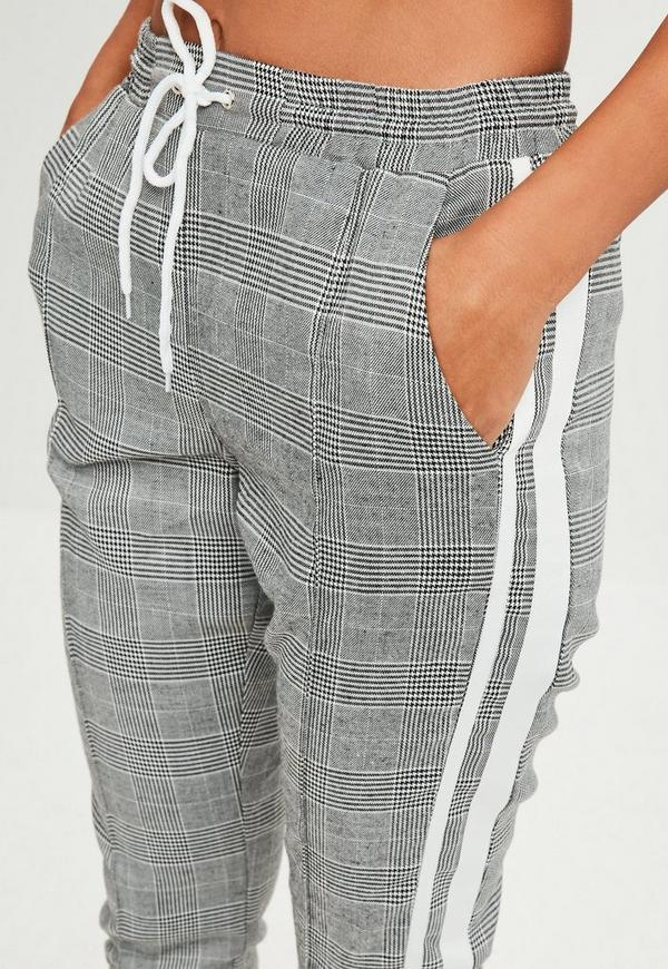 Gray Plaid Tracksuit Joggers Missguided
