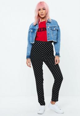 Czarne spodnie cygaretki w kropki