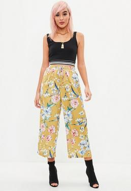 Mustard Yellow Floral Printed Culottes