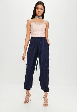 Carli Bybel x Missguided Navy Satin Cargo Pants