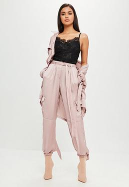 Carli Bybel x Missguided Purple Satin Cargo Pants