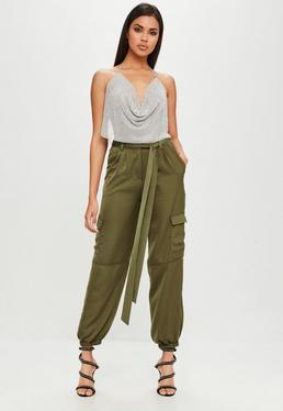 Carli Bybel x Missguided Khaki Satin Cargo Pants