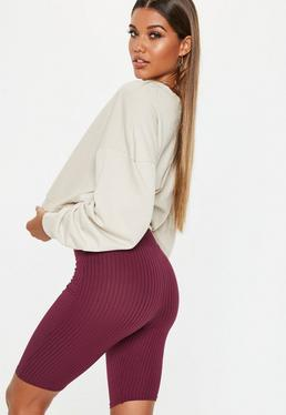 Carli Bybel x Missguided Burgundy Ribbed Cycling Shorts