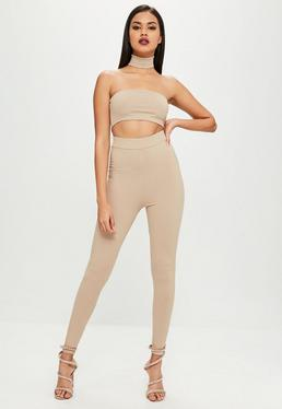 Carli Bybel x Missguided Nude Ribbed High Waist Leggings
