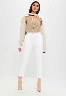 Carli Bybel x Missguided Białe spodnie dresowe