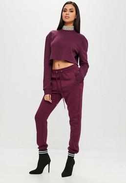 Carli Bybel x Missguided Burgundowe spodnie dresowe