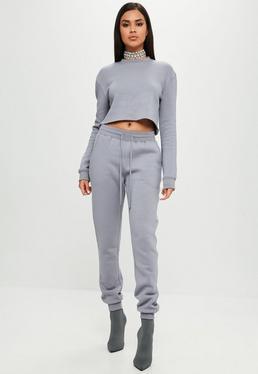 Carli Bybel x Missguided Szare spodnie dresowe