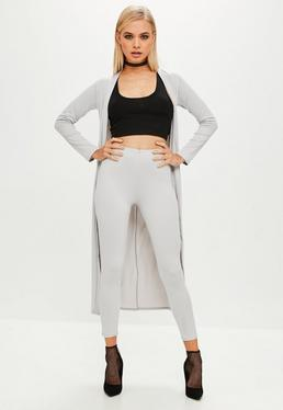 Grey Crepe Leggings