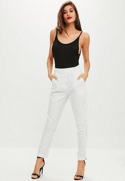 White Pinstripe Cigarette Trouser