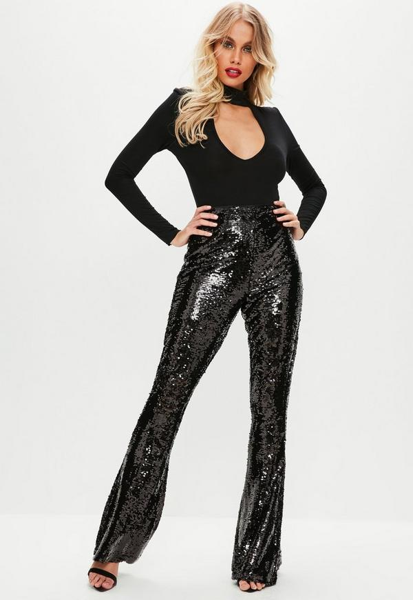 Black Sequin Flare Trousers Missguided