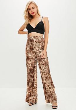 Brown Leopard Print Flared Pants