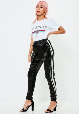Pantalón de chándal de satén en negro