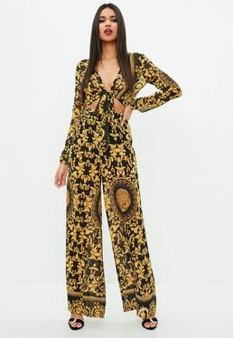 Black Yellow Print Wide Leg Pants