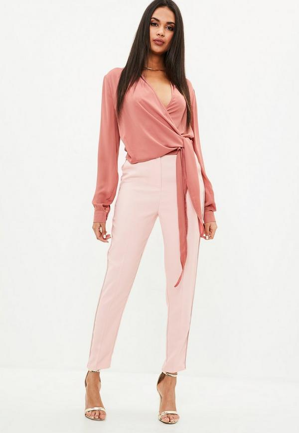 Nude Slim Leg Cigarette Pants by Missguided