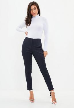 Navy Pinstripe Side Stripe Cigarette Trousers