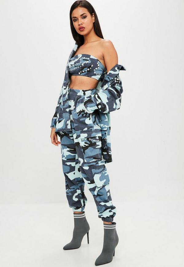 Carli Bybel X Missguided Blue Camo Cargo Trousers Missguided
