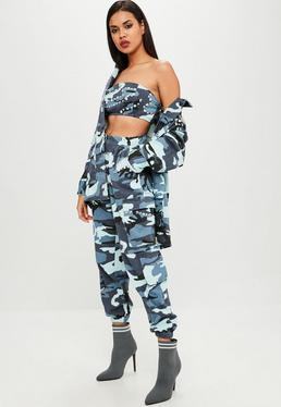 Carli Bybel x Missguided Blue Camo Cargo Trousers