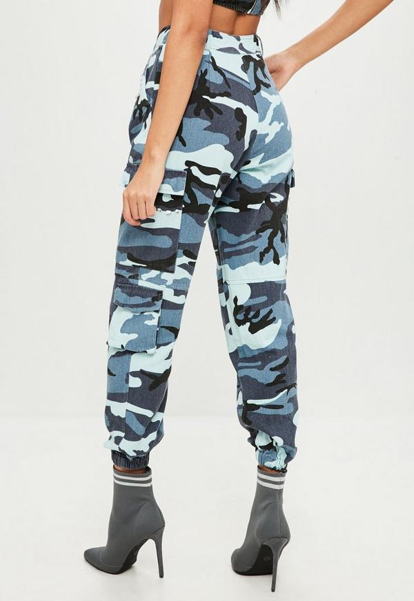 Carli Bybel x Missguided Blue Camo Cargo Pants