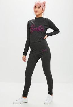Barbie x Missguided Gray Hotfix Logo Leggings