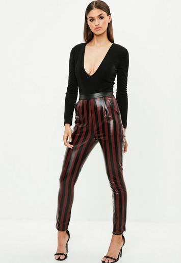 Burgundy Striped Faux Leather Slim Leg Pants | Missguided