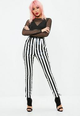 White Striped Faux Leather Trousers