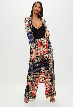 Navy Printed Wide Leg Trousers