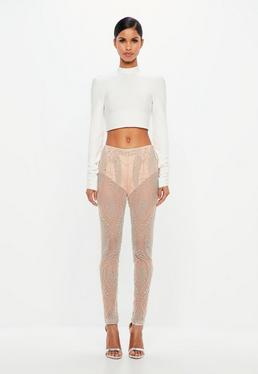 Peace + Love Nude Embellished Sheer Trousers