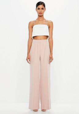Peace + Love Pink Wide Leg Crepe Pants
