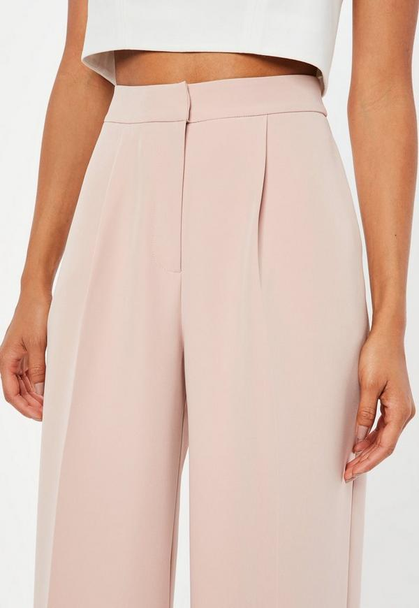 Peace Love Pink Wide Leg Crepe Pants Missguided