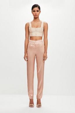 Peace + Love Pantalón recto en rosa metalizado