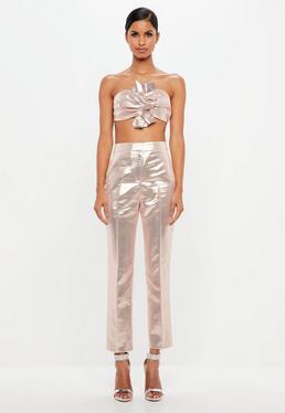 Peace + Love Pantalón de pinzas en rosa metalizado