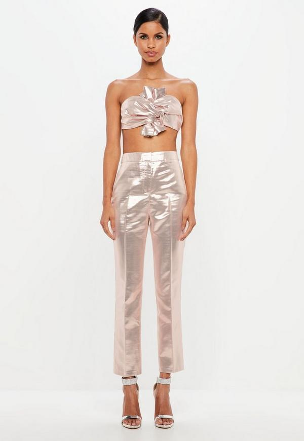 Peace + Love Pink Metallic Tailored Trousers by Missguided