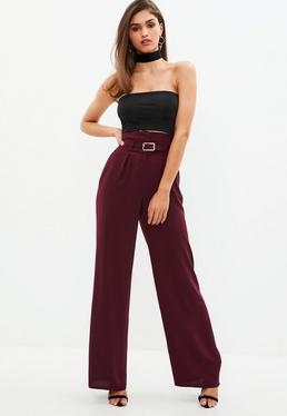 Burgundy Belted Wide Leg Trouser