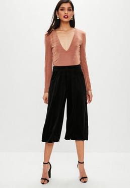 Black Velvet Split Side Culottes