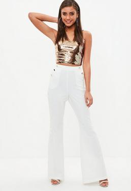 White Side Stripe Military Kick Flare Trousers