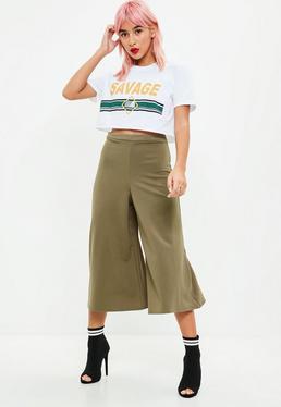 Khaki Crepe Culottes