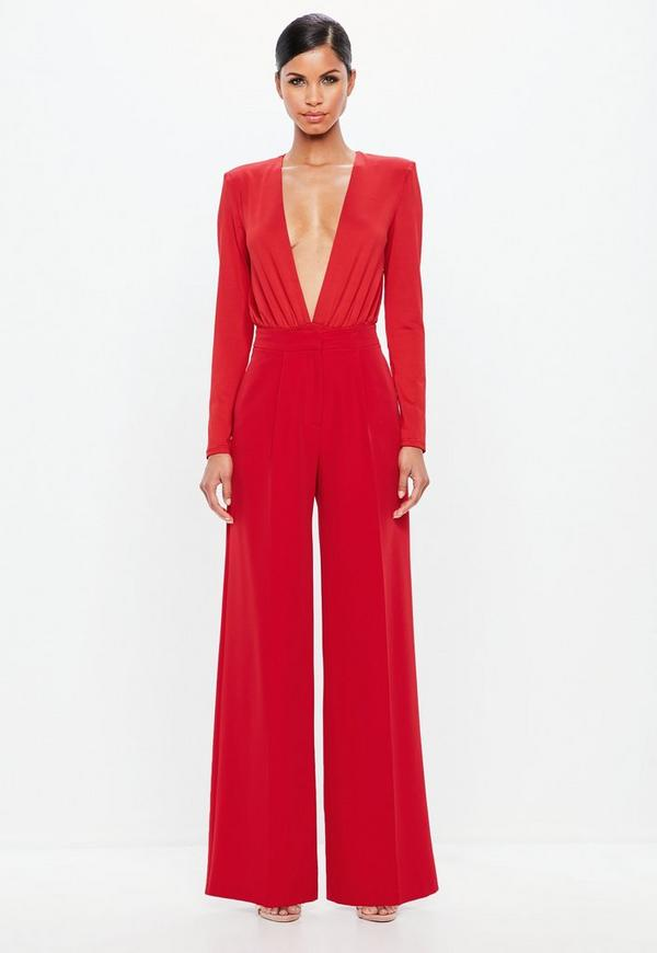 Peace + Love Red Wide Leg Crepe Trousers by Missguided