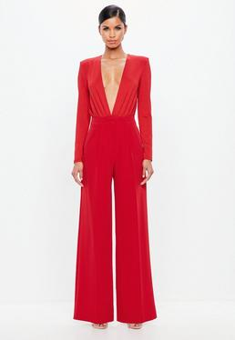 Peace + Love Red Wide Leg Crepe Trousers