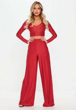 Red Disco Slinky Wide Leg Trousers