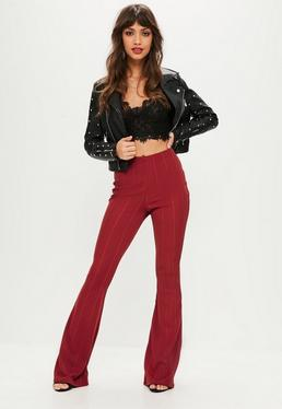 Red Bandage Flared Trousers