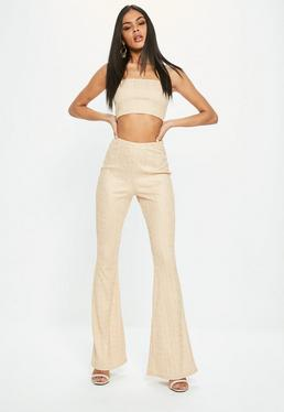 Gold Bandage Flared Pants