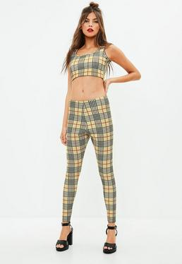 Beige Checked Leggings & Crop Top Co-ord Set