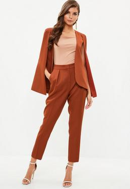 Rust Pleat Front Cigarette Trousers