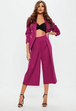 Purple Pleated Front Cullotte trousers