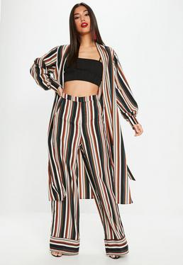 Navy Multi Stripe Wide Leg Pants